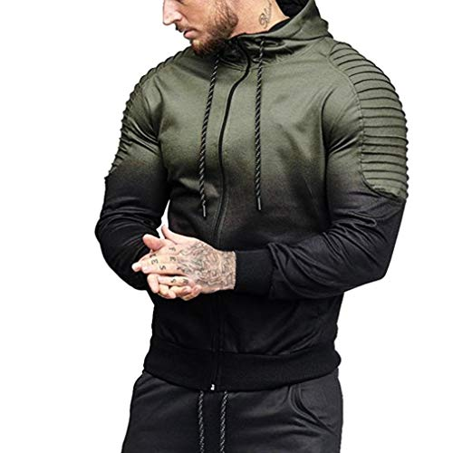 Preisvergleich Produktbild Sannysis Herren Herbst Winter Langarm Spleißen Falten Kapuze Top Bluse Trainingsanzüge