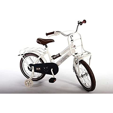 Bicicleta Niña 16pulgadas ruotine portaequipajes blanco y Vero tela Jeans