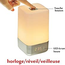 COOSA Luz para Despertar Luz Despertador, Sensor táctil Lámpara de cabecera, control táctil, Reloj despertador, 5 Sonidos naturales y simulación de salida del sol, LED recargable que cambia la atmósfera de luz nocturna lámpara de luz LED regulable que cambia de color, luz ambiental (blanco)