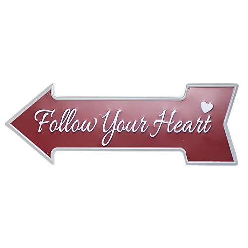 Lumanuby 1x Kreative Amor Pfeil Metall Zeichen für Deko von Geschäft Zuhause oder öffentliche Bereiche Wandschild Prägen Stil mit Wort 'Follow Your Heart' und Liebes Herz, Bar Sprüche Serie - Metall Pfeil-zeichen