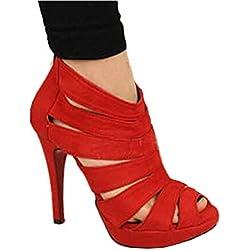 Zeagoo Damen Pumps Frauen Plateau Schuhe Hohe Absätze Ausschnitte Sommer Sandalen Keilabsatz Schuhe