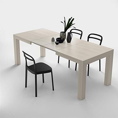 Mobilifiver, tavolo cucina allungabile fino a 220 centimetri, iacopo, nobilitato, color olmo perla, chiuso 140 x 90 x 77 cm, 2 allunghe da 40 centimetri all'interno