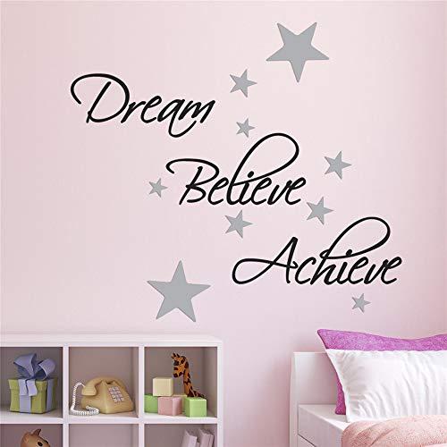 wandaufkleber 3d Wandtattoo Schlafzimmer Dream, Believe, Achieve Pack Beinhaltet Silver Star House Dekoration für das Wohnzimmer Schlafzimmer (Silver Star Dekorationen)