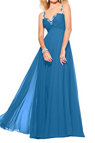 Gorgeous Bride Fashion Traeger Lang Empire Chiffon Tuell Brautjungfernkleid Prom Kleider Abendmode Blau