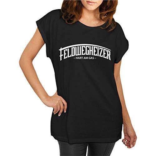 FELDWEGHEIZER Frauen und Damen T-Shirt Auspuff dröhnt (mit Rückendruck) Größe XS - 5XL