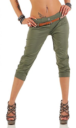 Danaest Damen Capri Hose inkl. Gürtel (624), Farbe:Khaki, Grösse:M/38