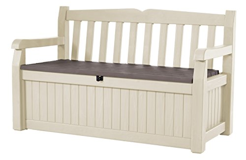 Keter Eden Bench Outdoor Plastic Storage Box Garden Furniture, Beige and Brown, 140 x 60 x 84 cm