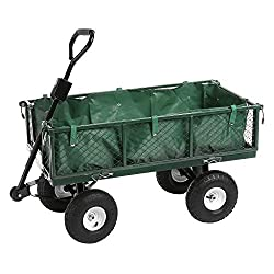 Qualtex Large Heavy Duty Outdoor Waterproof Festival Cart Camping Truck Garden Trolley Cart with Canvas Collection Bag, DIY Gardening, 350kg/771lbs Max Load, 96.5 x 51cm