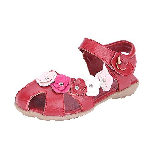 OCHENTA Fille Sandales Bout Fermé Fleurs Princesse Sandales Plates Chaussure Enfant Rouge