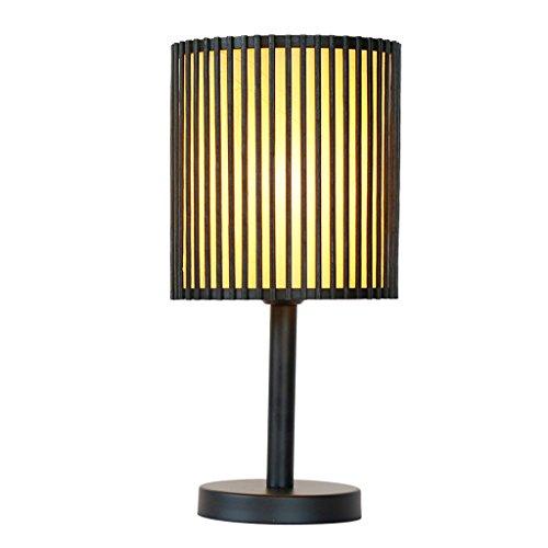 C&S CS Bambus Kunst Einfache Tischlampe Nachttisch Wohnzimmer Tee Tisch Beleuchtung Tischlampe Stecker Taste Schalter PVC Lampenschirm - Pvc-taste