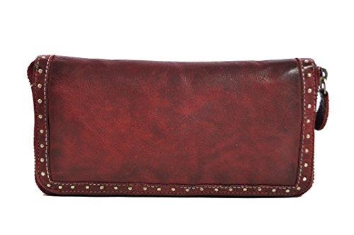 Damen Geldbörse lang mit Reißverschluss Voll-Rind-Leder Jockey Club Shabby Chic Used Optik Vintage Style cherry rot -