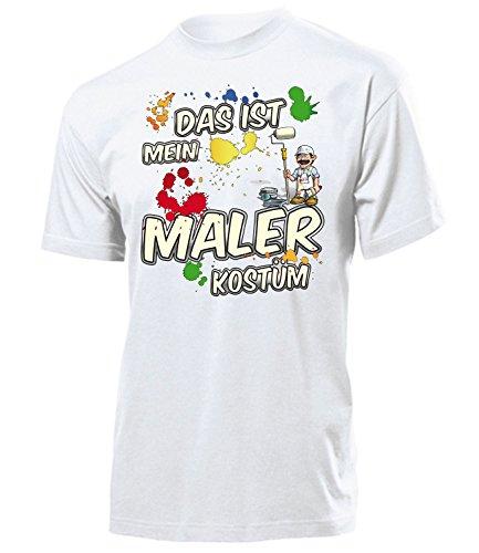 Kostüm Für Erwachsene Bau - Maler Kostüm Herren T-Shirt Handwerker BAU Männer Karneval Fasching Faschings Karnevals Paar Gruppen Outfit Klamotten Oberteil Motto Party Weiss XL