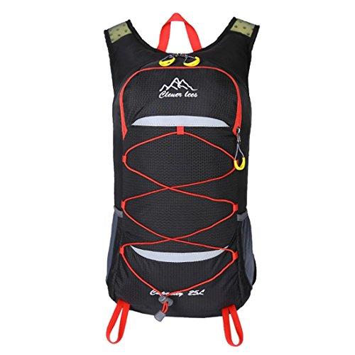 Outdoor Bike Rucksack leicht wasserdicht Traveling Bergsteigen Wandern Tasche mit Regen Abdeckung für Männer und Frauen 5 Farben 0,5 kg H48 x W28 x T16 cm Black