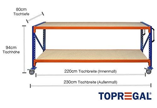 Lagerwagen Rollenwagen 2,3m breit, 80cm tief, Tischhöhe 94cm fahrbare Werkbank