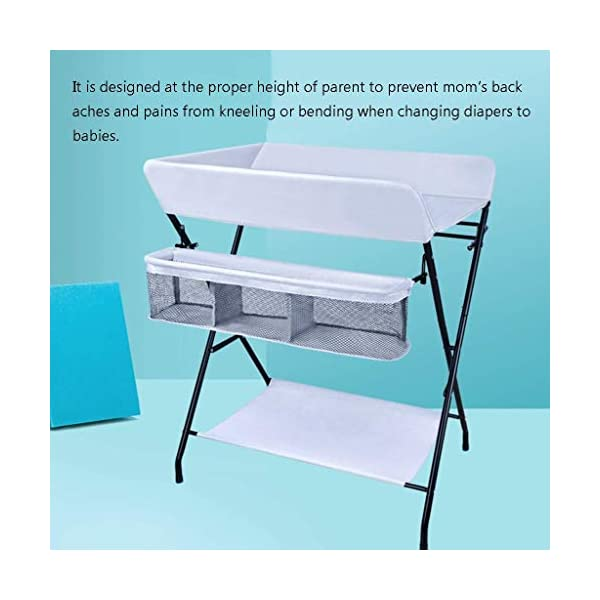 Folding Baby Changing Table for Small Spaces, Portable Nursery Infant Diaper Massage Station Dresser for Household Travel, Grey, 0-2 Years Old (color : B) AA-SS-Changing Table Stable Construction: Sturdy metal frame keep the table stable. While the other part is made of durable and wearable Oxford cloth. Folding: Easily fold it if you finish all the tasks! With its space saving design, you can store it behind a door. Large Storage Space: Equipped with 3 compartments aside the table, you can place soaps, towels and any other accessories conveniently. 3