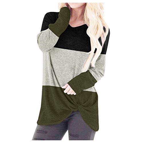 Kolila T-Shirts Tops Damen Bequeme Twist Knot V-Ausschnitt Patchwork Tuniken Tops Lang/Kurzarm Blusen Oberteile