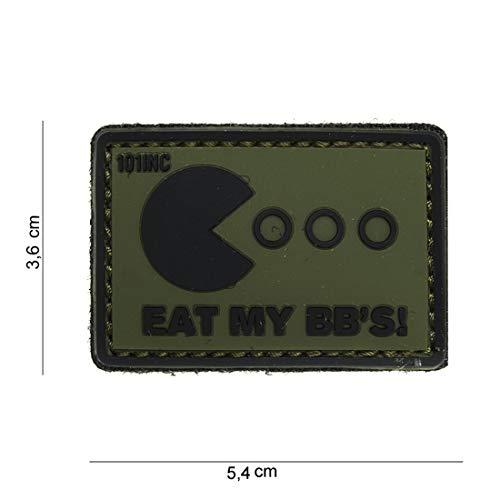 Tactical Attack Eat My BB's grün schwarz Softair Sniper PVC Patch Logo Klett inkl gegenseite zum aufnähen Paintball Airsoft Abzeichen Fun Outdoor Freizeit