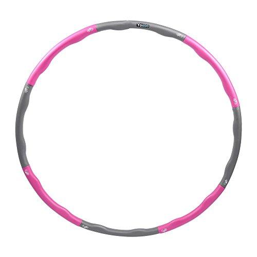 EBTOOLS Hula Hoop, Abnehmbarer Schaumstoff Hula Hoop Übung Hula-Hoop Reifen für Erwachsene, Hula-Hoop-Durchmesser 94,5 cm (Pink & Grau)