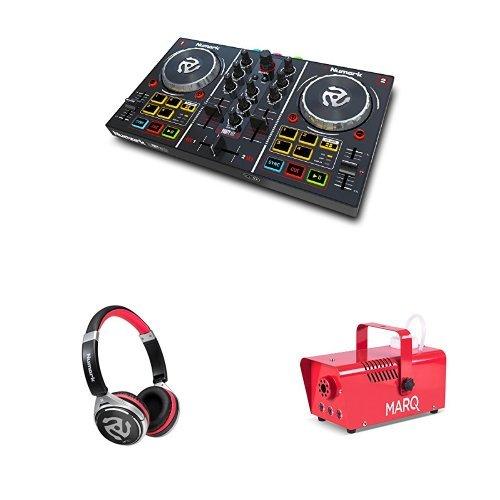Numark Party Mix DJ Controller mit eingebauter Lichtshow, Audioausgängen und Virtual LE Software + Numark HF150, Professioneller DJ Kopfhörer mit legendärer Numark Soundqualität + Marq Fog 400 LED Quick-Ready kompakte Nebelmaschine (mit Pyro-Lichteffekt) rot Bundle (Dj-licht-controller-software)