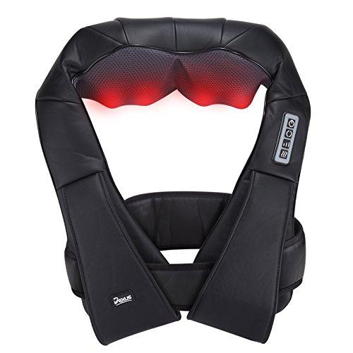 Dexus® Schulter Massagegerät DX100 Shiatsu für Schulter Nacken Rücken mit Befestigungsgurtel und Schutzdecke mit Wärmefunktion