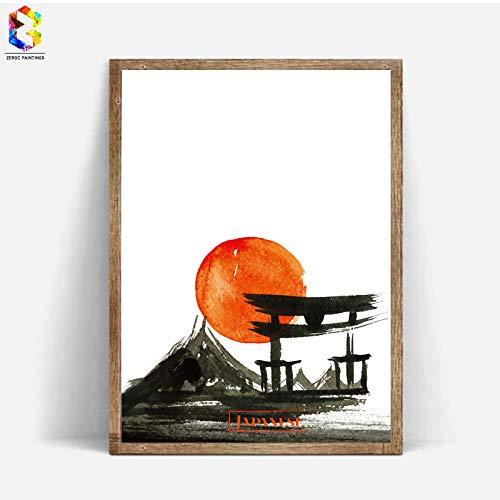 baodanla Kein Rahmen Japanischen Kunstdruck Tinte ng Wandbehang Poster Bild für Wohnzimmer Dekoration wohnkultur50x70 cm