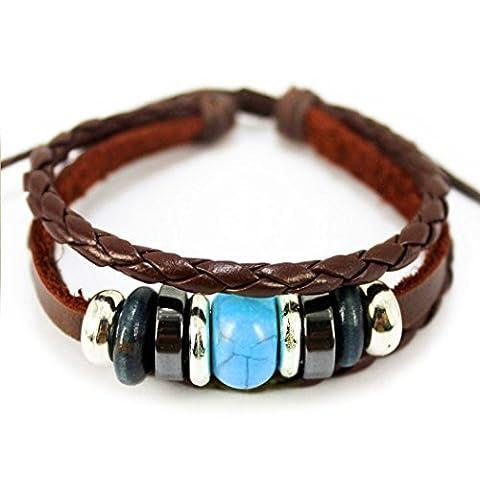 Plus amusant Perle Turquoise ajustable en cuir marron tressé en corde tressée Bracelet