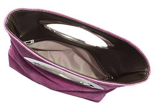 Big Handbag Shop, pochette da donna, da sera, in pelle scamosciata, tinta unita, con manico Pink (GU681)