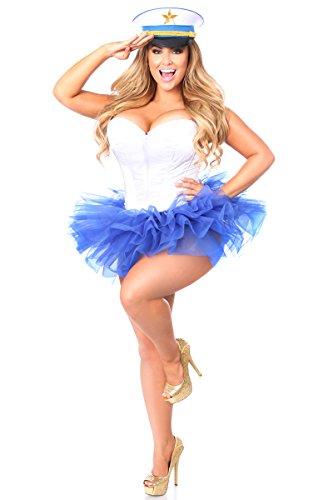 Daisy Corsets Damen Korsett Korsett Übergröße Flirty Matrosen-Kostüm - Blau - 6X (Sailor Übergröße Kostüm)