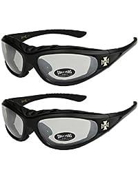 Choppers - Lot de 2 paires de lunettes de soleil avec rembourrage dans les coloris noir anthracite argent et blanc - Unisexe Femmes Hommes Moto Motocycle Motard Biker Sport Vélo Bicyclette Mode