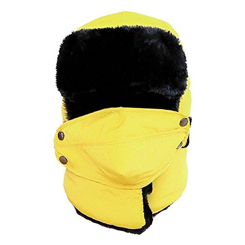 ALAIX Cappello della falda dell'orecchio unisex traspirante invernale trapper Trooper Ushanka con maschera antivento,Giallo