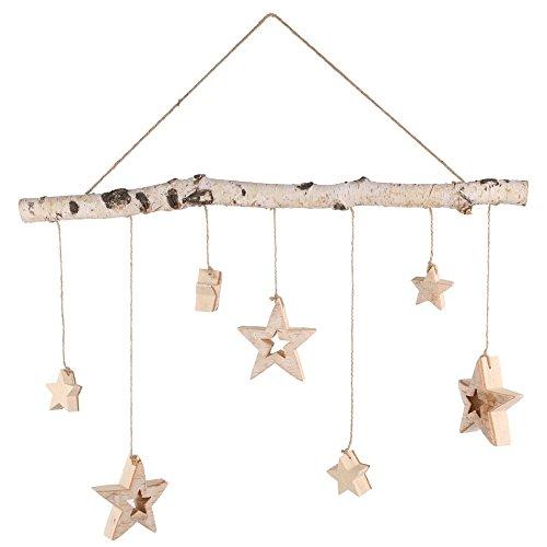 Annastore Birken-Zweig mit 7 hängenden Sternen Weihnachtsdeko Dekozweig