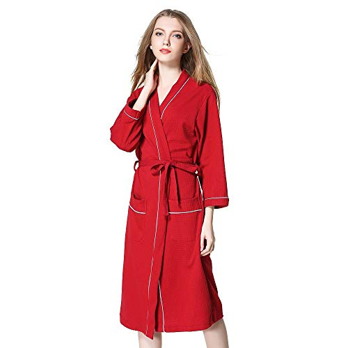 OverDose Damen Liebhaber Frauen Damen männer Winter verlängert Coraline plüsch schal Bademantel Home Dating weiche Dress Langarm Robe Mantel Dressing(Rot,EU-46/CN-M) -