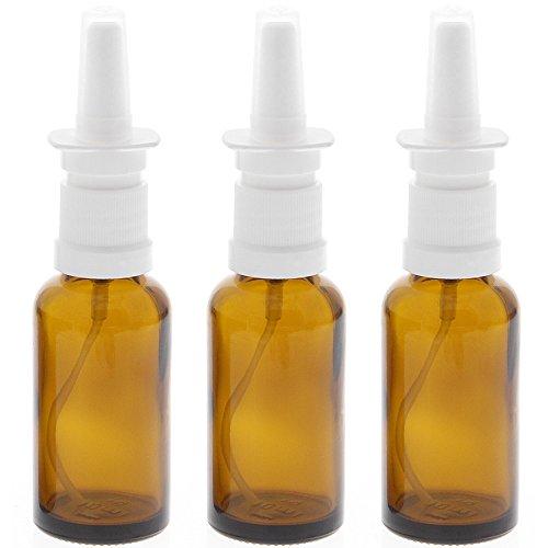 Leere Nasenspray-Flasche mit Fingerzerstäuber Kosmetex Nasenzerstäuber Sprühflasche Braun-Glas Vaporizer, 30ml, 3× 30 ml