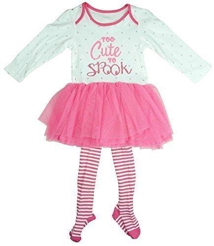 TE TO SPOOK Tutu Body & Strümpfe Halloween Kostüm Set Größen von Neugeborene bis 18 Monate - Rosa, 0-3 Months (0 Bis 3 Monate Halloween Kostüme)