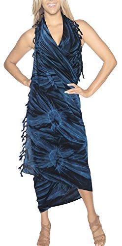 ziemlich Bademode Sarong Badeanzug Badeanzug-Bikini-Vertuschung Kleid weicher Viskose Google Blau