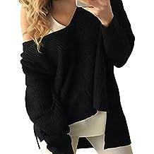 ZKOO Jerséy Mujers Irregular Oversize Suéteres de Punto Manga Larga Sin Tirantes Tejido De Punto Jerseys Suéter Pullover Otoño e Invierno