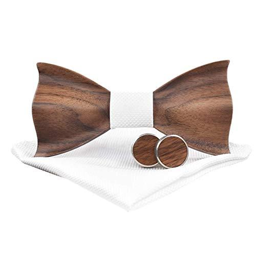 Jelinda Handmade Walnut Wood Fliege Einstecktuch und Manschettenknöpfe Set Weiß Bow Tie Set