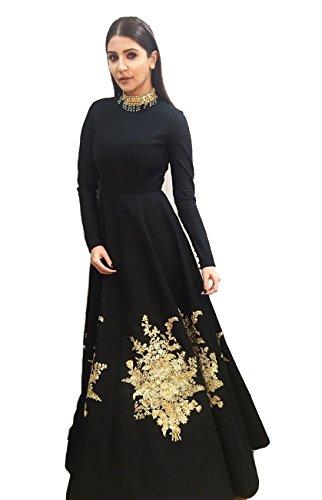 Royal Export Women\'s Bangalori Silk Gown (anuska_black_gown__Black_Free Size)