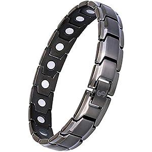 Auzev ReinesTitan Magnettherapie Armband für Unisex mit Klappschließe 4 Elemente magnetische Armband Leistungsstarke 3000 Gauß Magneten Magnetschmuck Ideal als Geschenk
