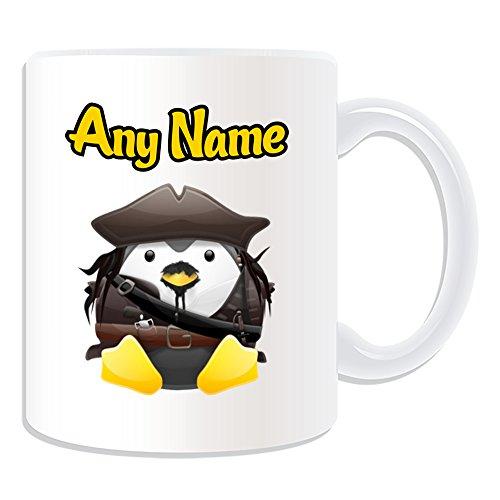 Personalisiertes Geschenk-Captain Jack Sparrow Tasse (Pinguin Film Charakter Design Thema, weiß)-Jeder Name/Nachricht auf Ihre Einzigartiges-Kostüm Film Superheld Hero Piraten der Karibik (Kostüme Der Film Charaktere)