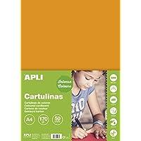 APLI 14238 - Cartulina 170g A4 50 hojas, color naranja