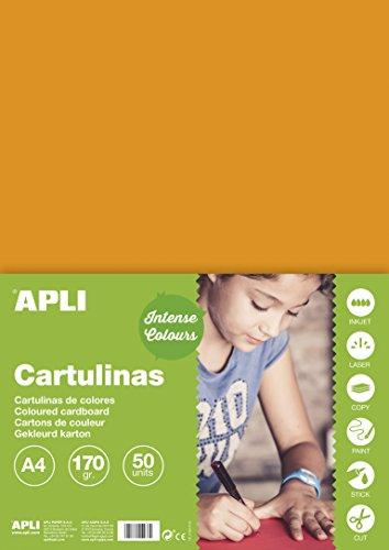 APLI 14238 - Cartulina naranja A4 170 g 50 hojas