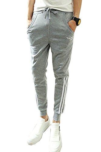 Minetom Herren Jungen Hippie Haremshose Jogginghose Freizeit Skinny Hose ( Grau Short Streifen EU S ) (Hose New Jones York Sport)