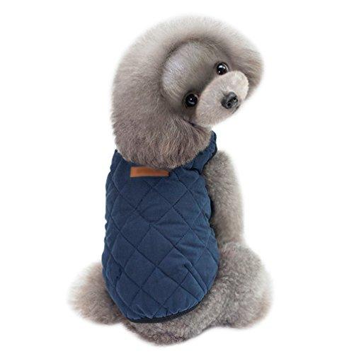 YiJee Kleine Haustier Welpen Klassischen Weste T-Shirt Hund Kleidung Weste Bekleidung Blau S