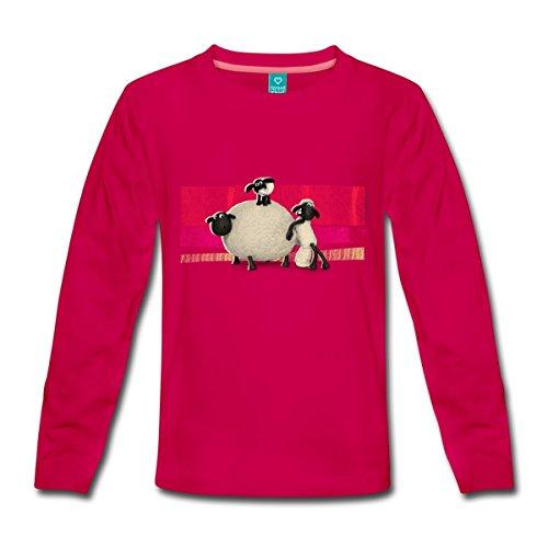 Lamm Dunkler T-shirt (Spreadshirt Shaun das Schaf Kinder Premium Langarmshirt, 122/128 (6 Jahre), dunkles Pink)