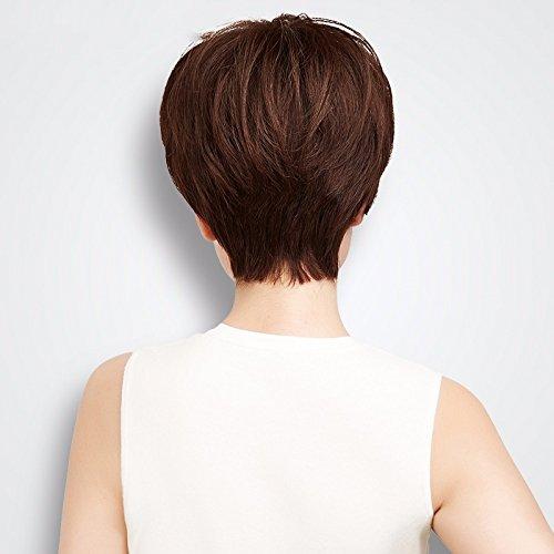 ZHUDJ Female Short Hair Full Hand-Woven False Sets The Hand-Woven Natural Black