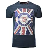 Mens Lambretta Retro Mod Union Jack Target Soft Cotton T-Shirt SS 3813 - Navy Blue