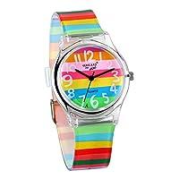 JewelryWe jongen meisjes polshorloge kinderhorloge, regenboog LGBT Gay & Lesbian Pride analoog kwarts horloge leerhorloge met siliconen armband