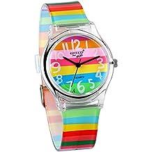 JewelryWe Reloj de Niños Niñas Reloj Analogico de Colores Arco Iris, Reloj Transparente Correa de Silicona Para Chicas, Buen Adorno de Verano 2017