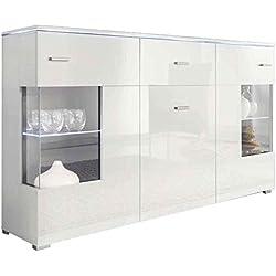 JUSTyou LUXUS Aparador Buffet Mueble de salón comedor Tamaño: 91x150x37 cm Blanco Mat / Blanco Brillante